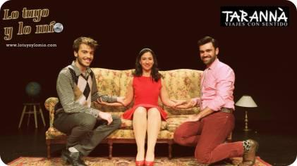Manuel Ramos, karen Gutierrez y Didac Flores que están representado - Lo tuyo y o mío - en el capitol de Barcelona